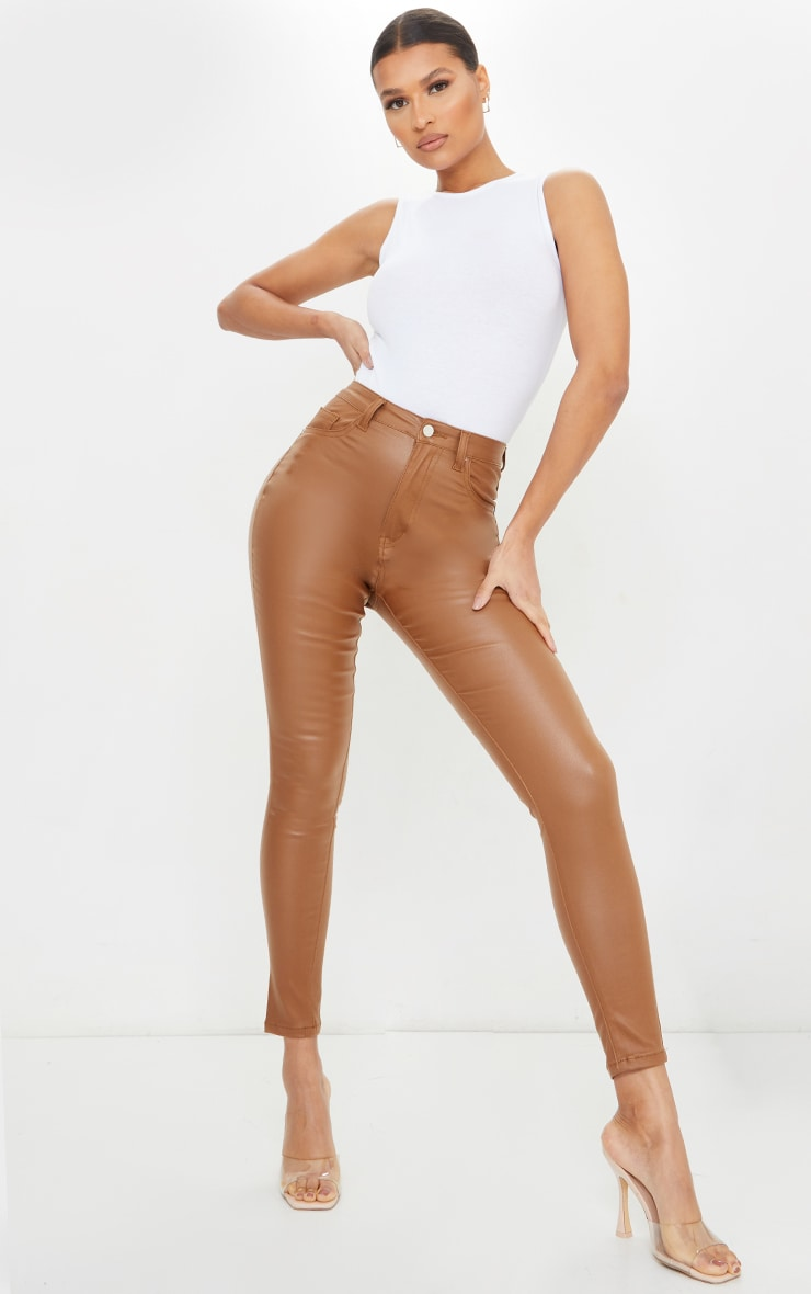 Tan Coated Skinny Jeans 1