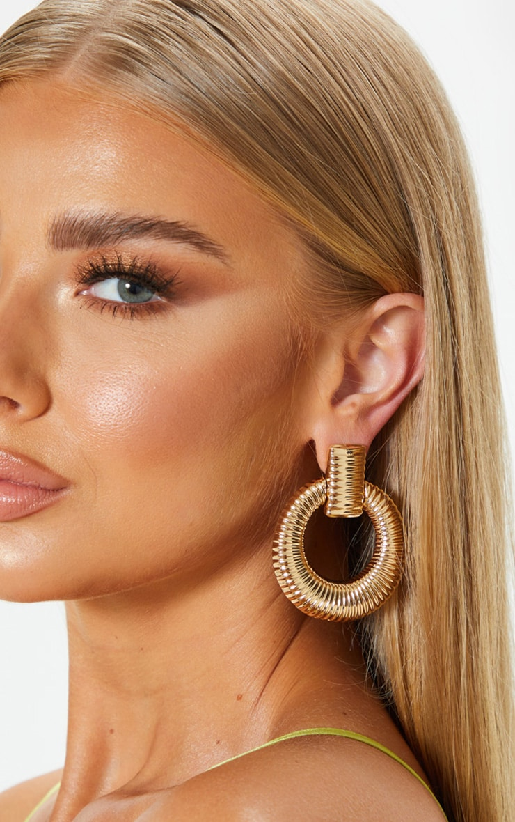 Gold Door Knocker Ribbed Hoops 1