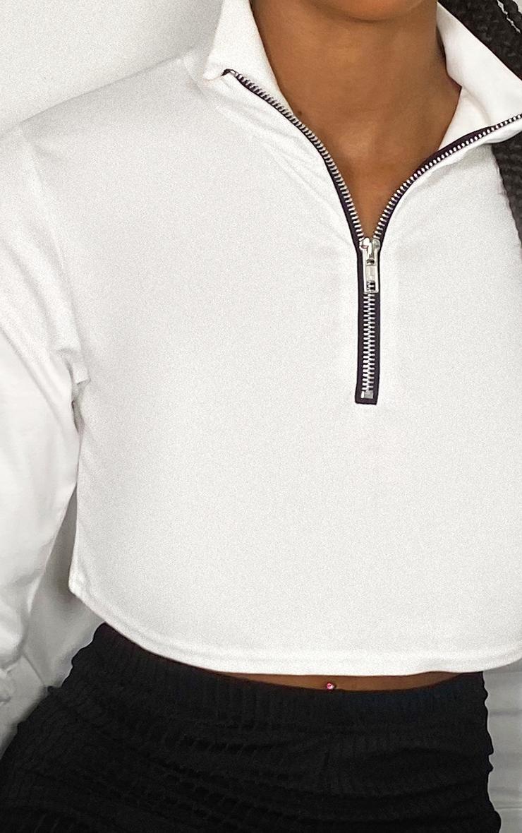 White Zip Front Crop Sweater 4