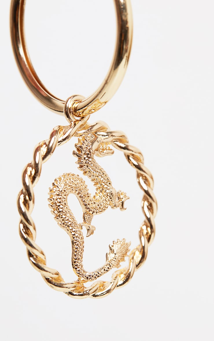 Gold Medium Snake Charm Hoop Earring 3