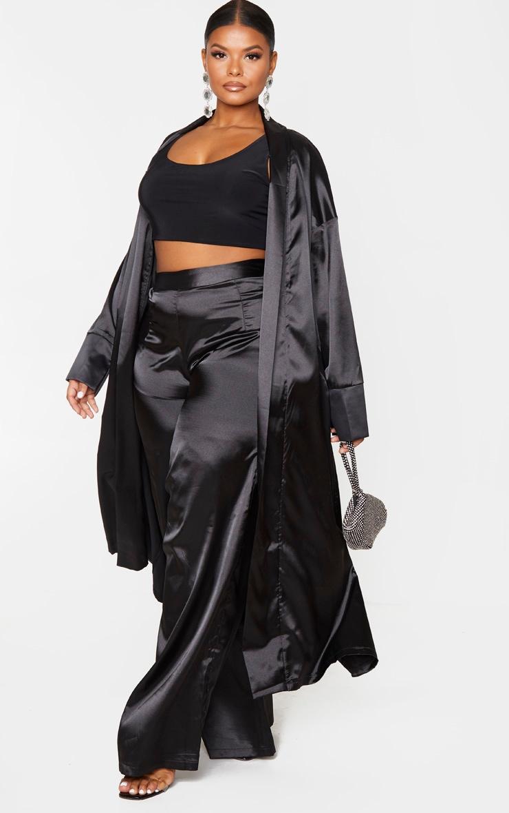 Plus Black Satin Contrast Detail Kimono 4
