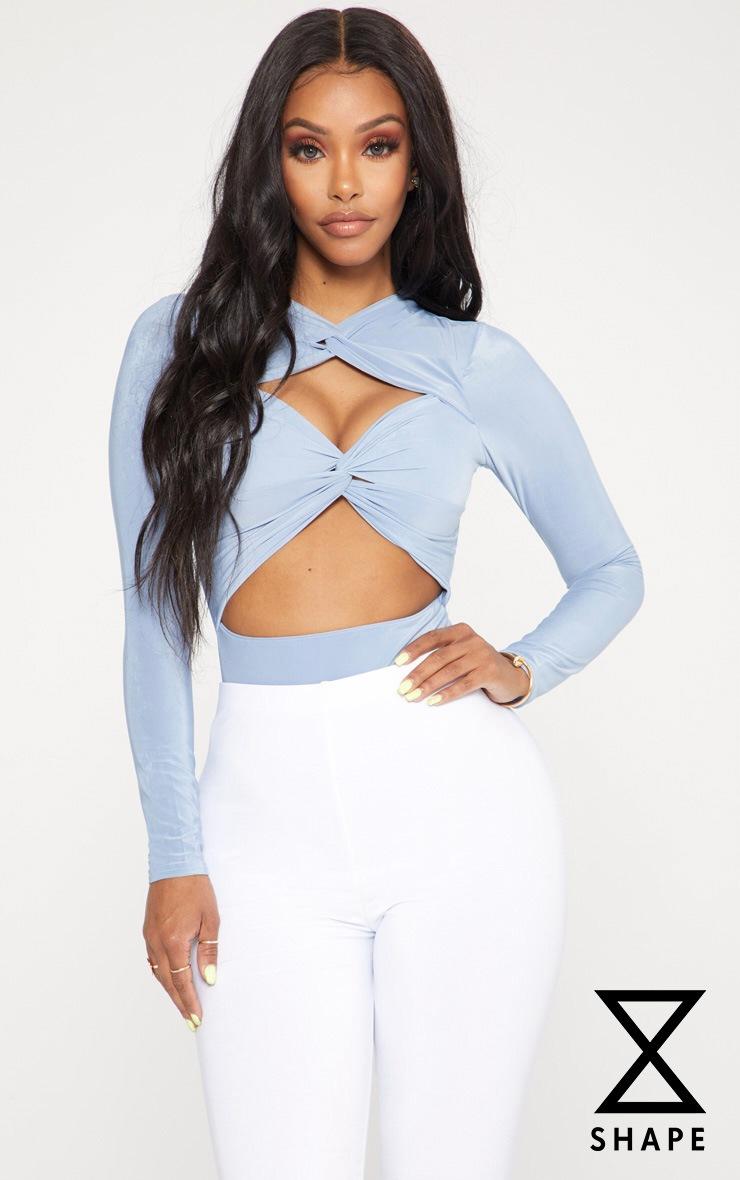 Shape Dusky Blue Twist Cut Out Bodysuit 1