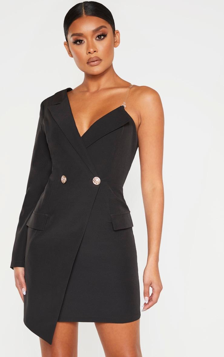 Robe blazer asymétrique noire à épaule unique 1