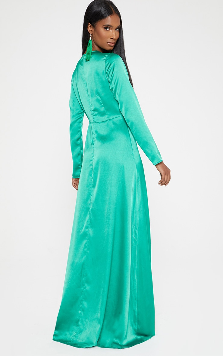 Green Satin Twist Front Maxi Dress 2