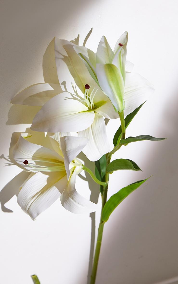 White Silk 3 Head Lily Artificial Flower 4