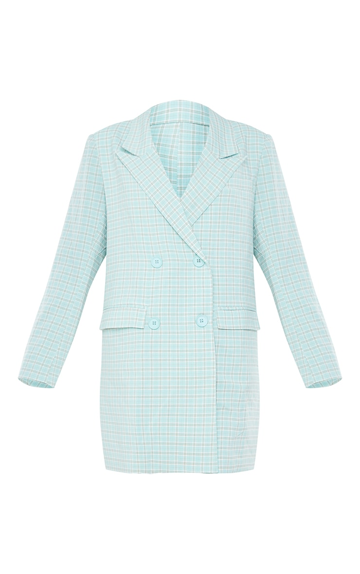 Mint Check Print Double Breasted Oversized Blazer Dress 5