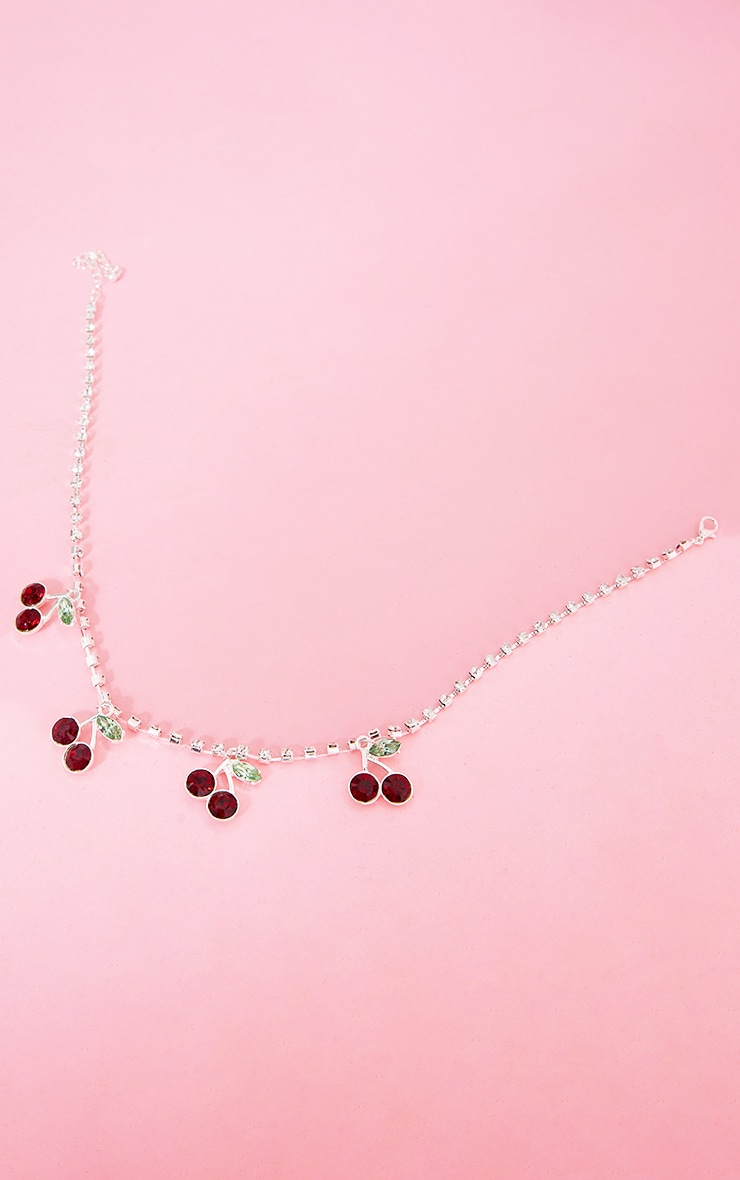 Silver Diamante Cherry Necklace 3