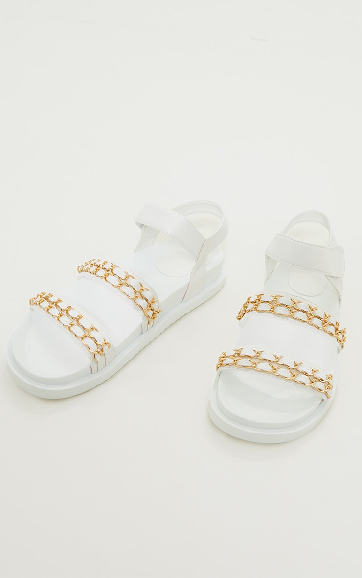 White PU Footbed Double Strap Chain Detail Sandals 3