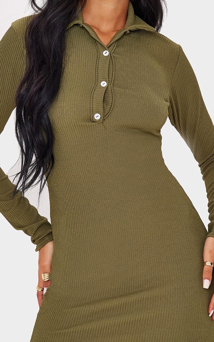 Tall  Khaki Long Sleeve Crinkle Polo Bodycon Dress 4