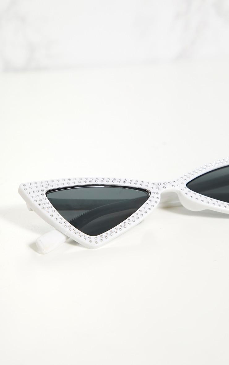 White Diamante Triangle Sunglasses 4