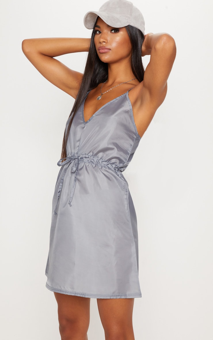 Grey Shell Drawstring Strappy Shift Dress 1