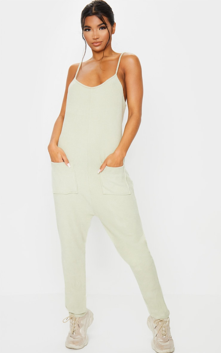 Sage Green Soft Rib Strappy Pocket Jumpsuit 3
