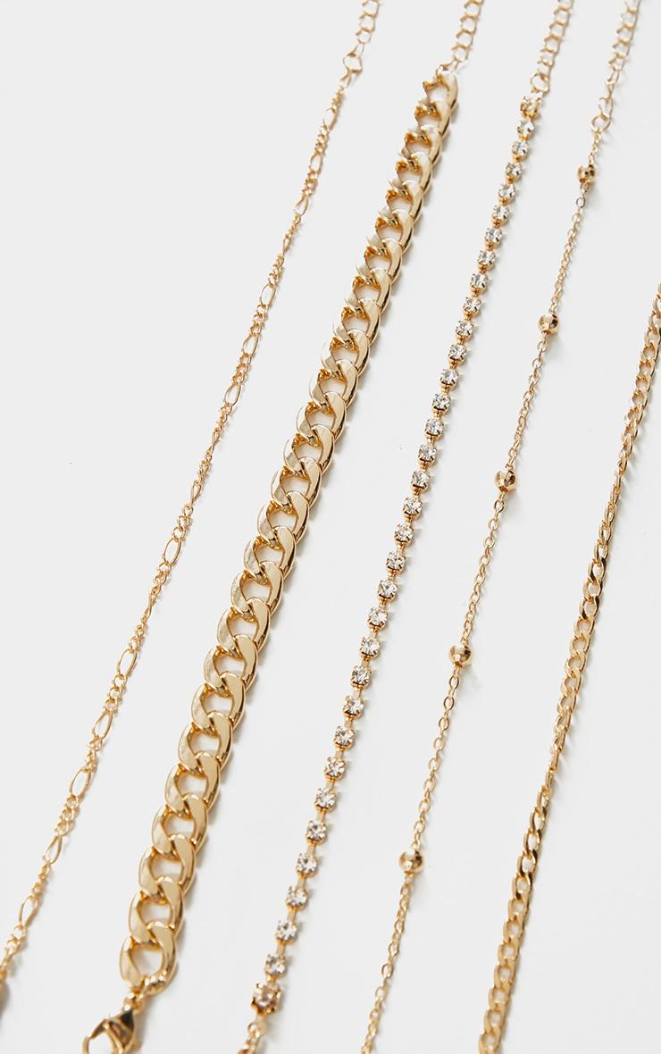 مجموعة أساور متعددة على شكل سلسلة ذهبية 1