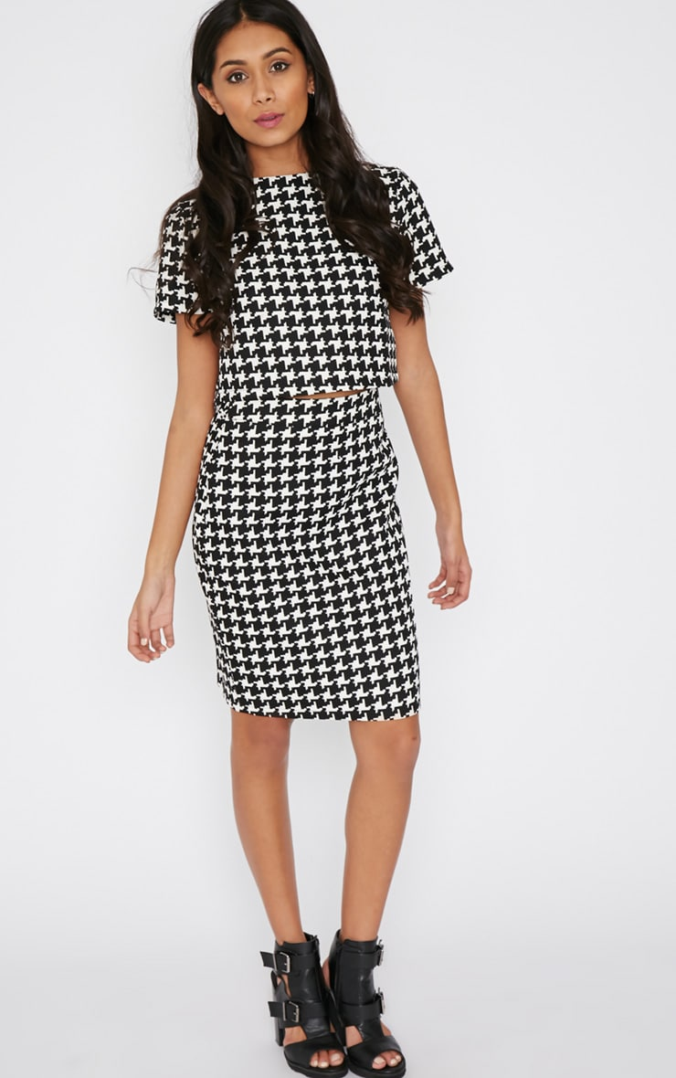 Loreto Monochrome Dogtooth Skirt 4