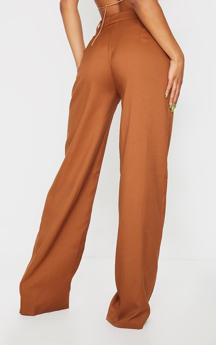 Pantalon à pinces ample tissé taupe 3