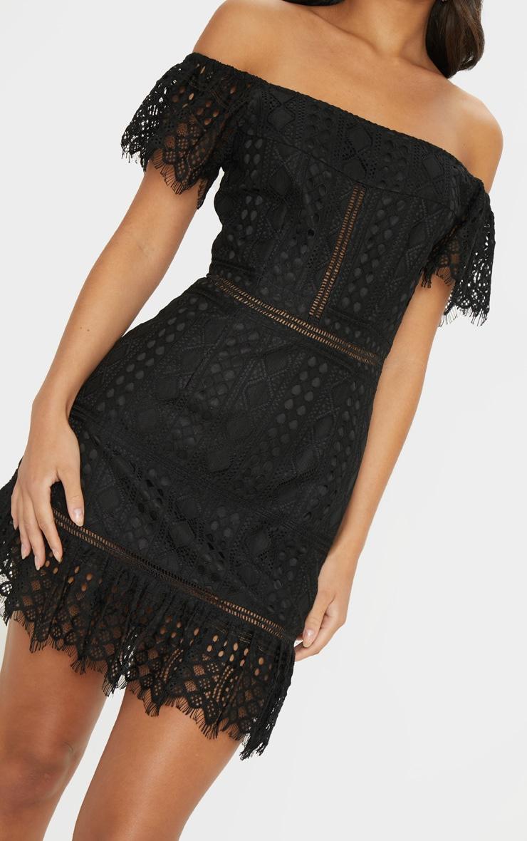 Black Bardot Lace Frill Hem Shift Dress 5