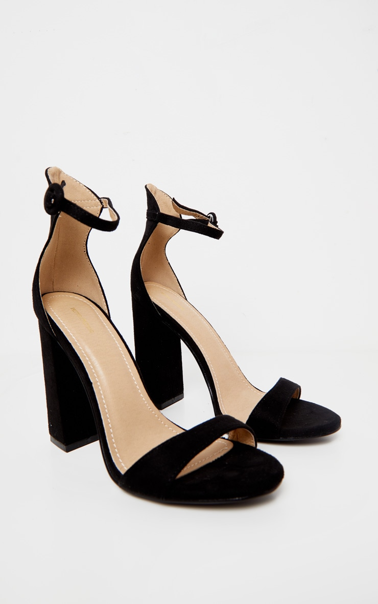 Black Faux Suede Block High Heeled Sandals 3