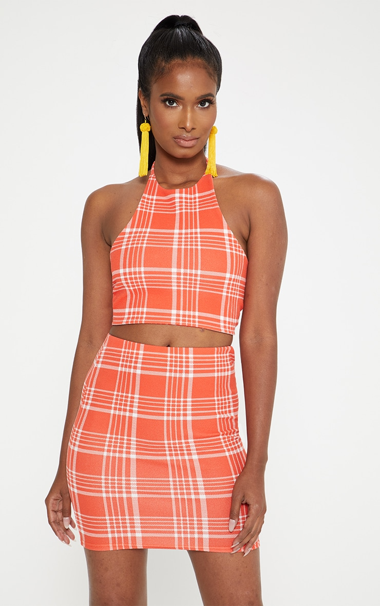 Orange Check Print Halterneck Crop Top 1