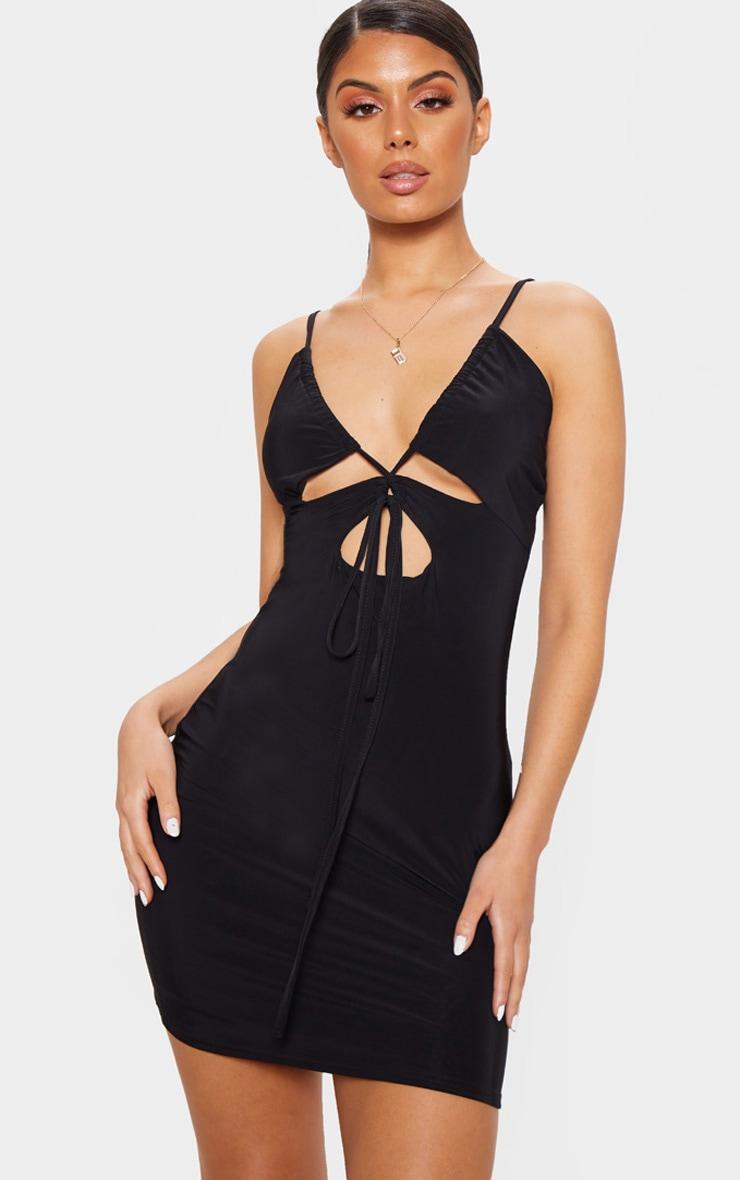 Black Slinky Cut Out Tie Detail Bodycon Dress 1