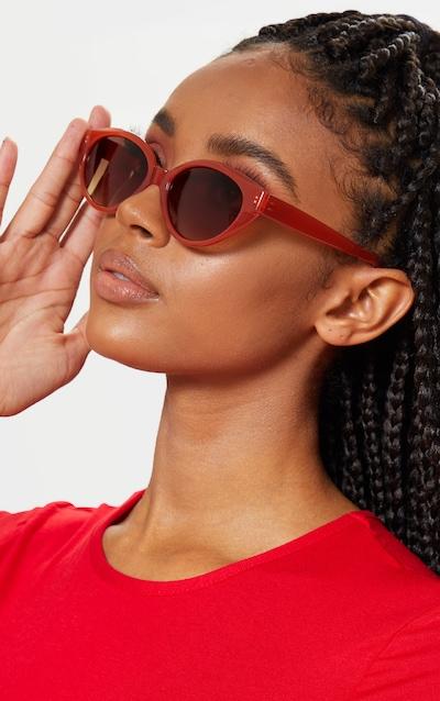 Red Plastic Frame Oval Sunglasses