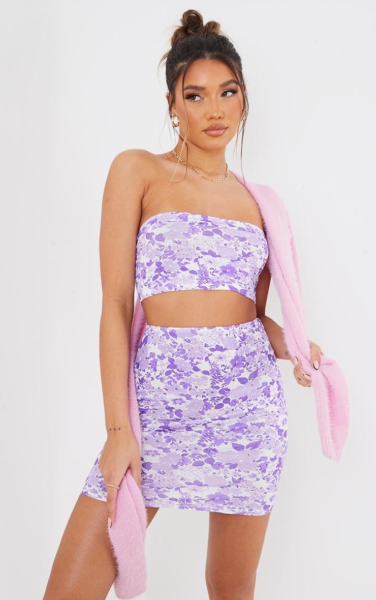 Lilac Ditsy Floral Print Bandeau & Mini Skirt Set 1