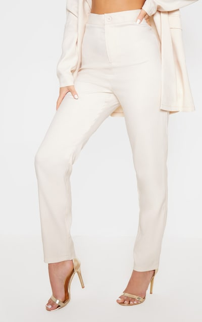 Ivory High Waisted Cigarette Trouser