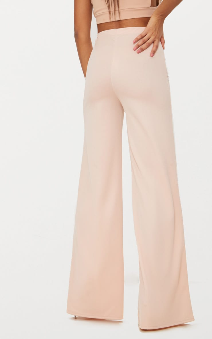 Nude High Waisted Wide Leg Trousers 4