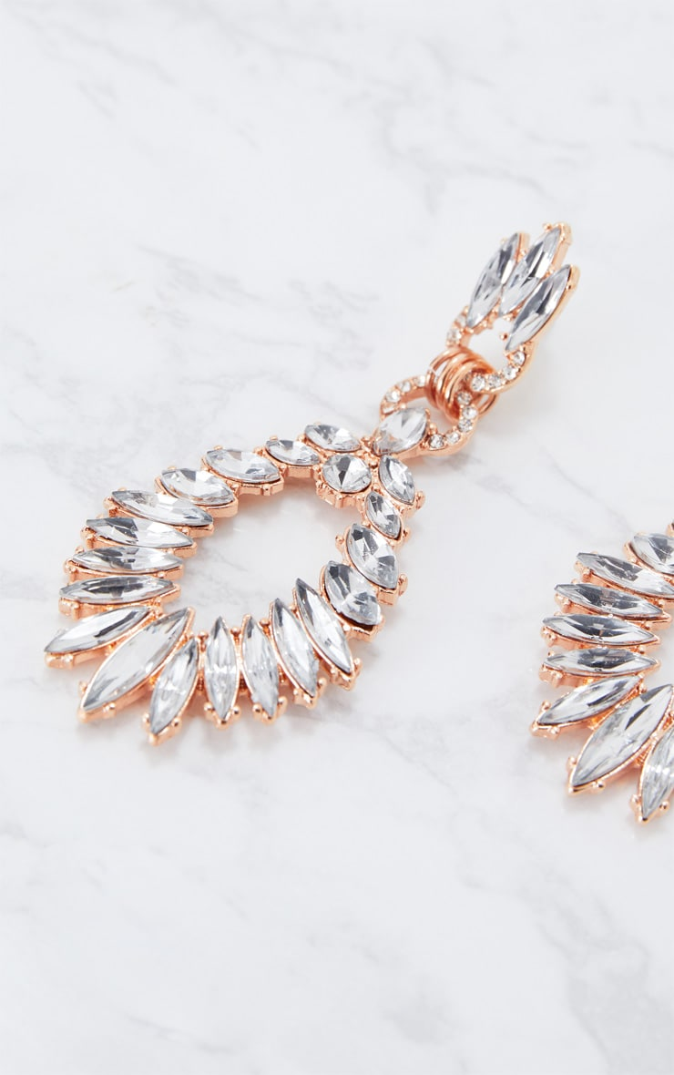 Rose Gold Statement Diamante Earrings 4