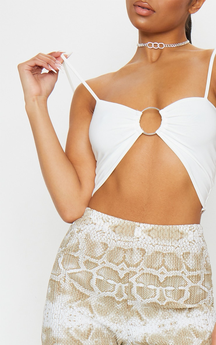White Slinky O Ring Strappy Crop Top 4