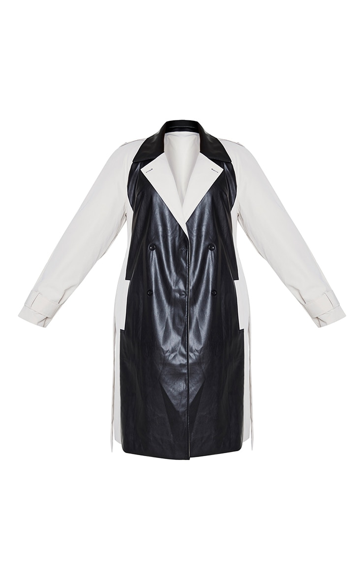Plus Stone PU Panelled Trench Coat 5