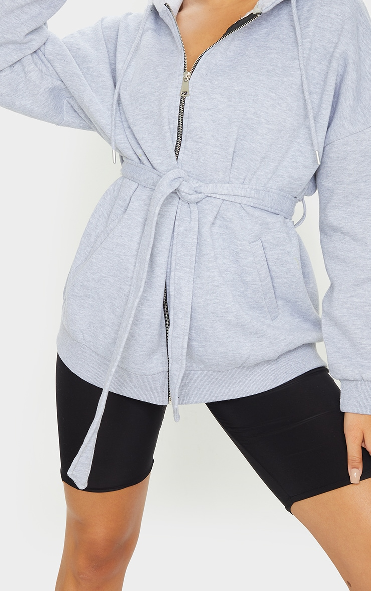 Grey Oversized Longline Zip Belted Hoodie Jacket 4