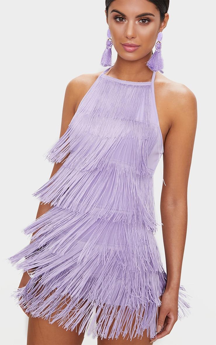 Combishort lilas à franges 5