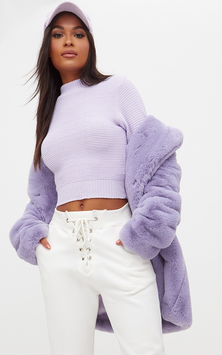 Lilac Ribbed Cropped Knitted Jumper 1
