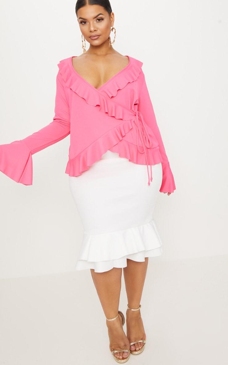 Plus Hot Pink Long Sleeve Wrap Detail Top 4
