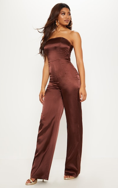 Tall Chocolate Brown Satin Bandeau Jumpsuit