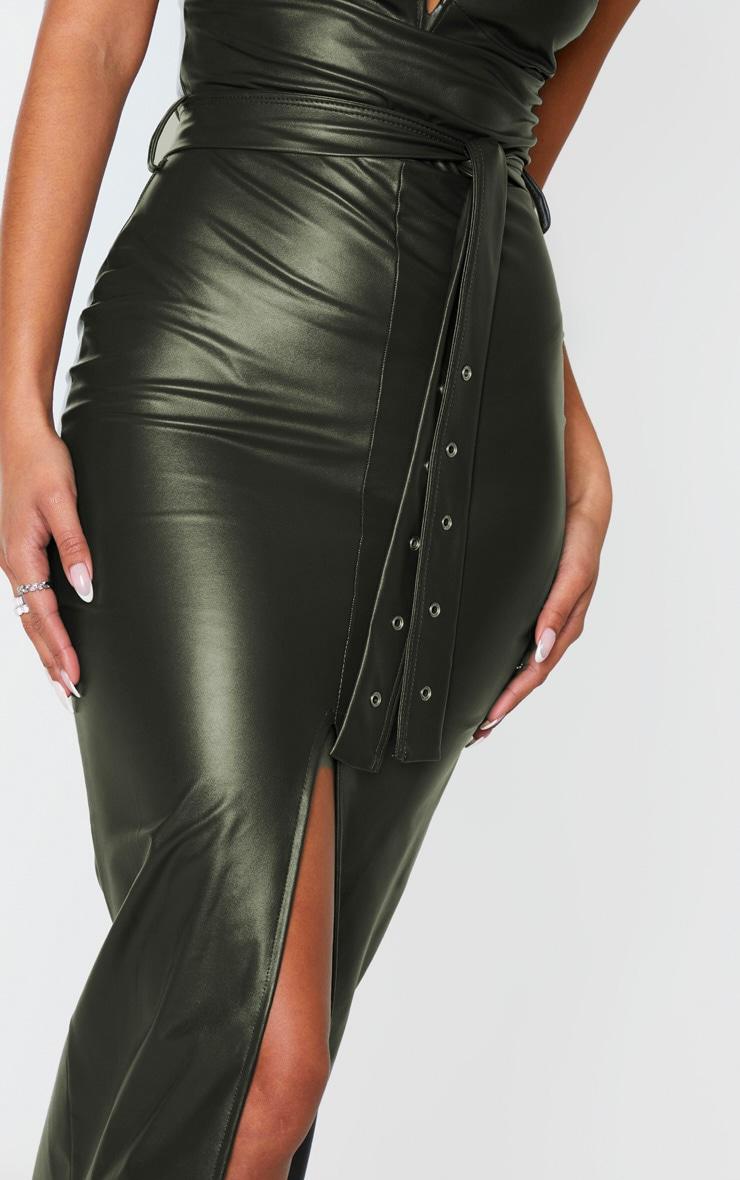 Khaki PU Bandeau Belted Split Detail Midi Dress 5