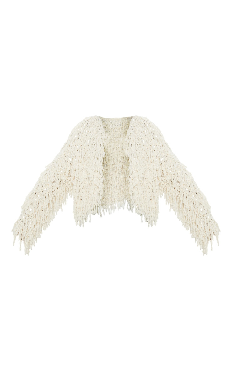 Cream Chenille Shaggy Knitted Cardigan 3