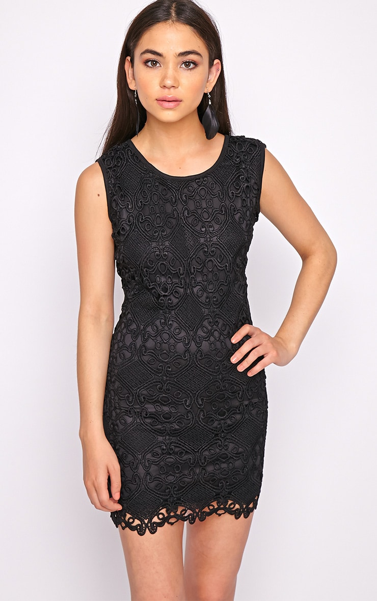Nadia Black Lace Shift Dress  1