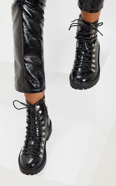 Black Cleated Sole Hiker Eyelet Ankle Boot
