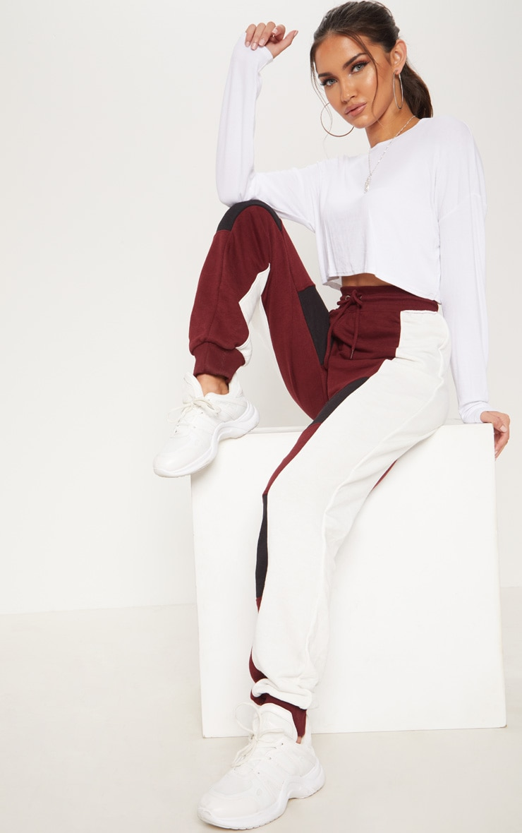 Burgundy Contrast Panel Cuff Jogger