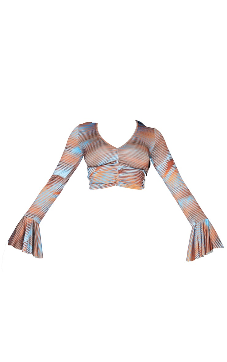 Brown Abstract Slinky Flare Sleeve Crop Top 5