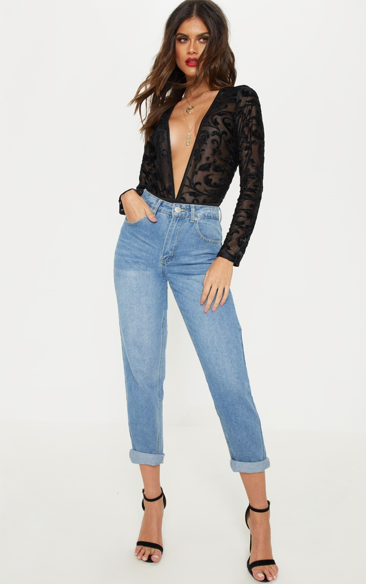 Black Devore Plunge Long Sleeve Bodysuit 5