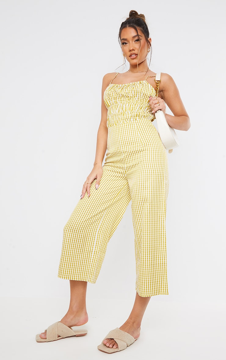 Lime Gingham Strappy Ruched Culotte Jumpsuit 3