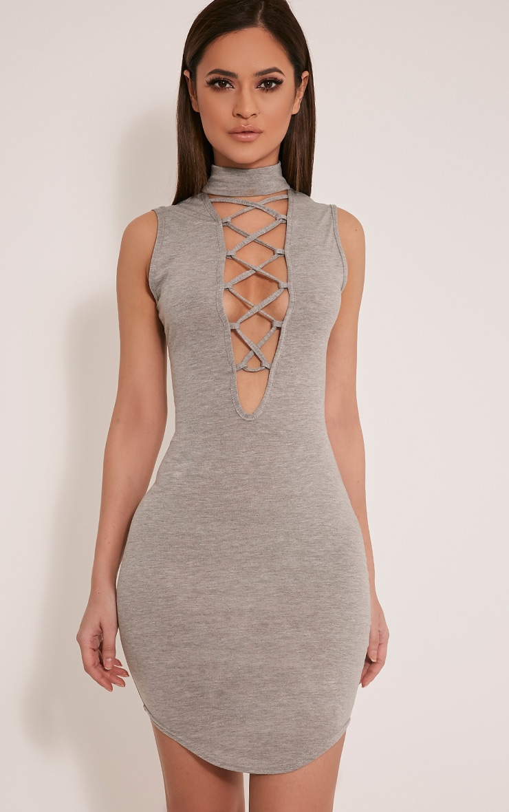Fran Grey Neck Band Lace Up Front Bodycon Dress 1