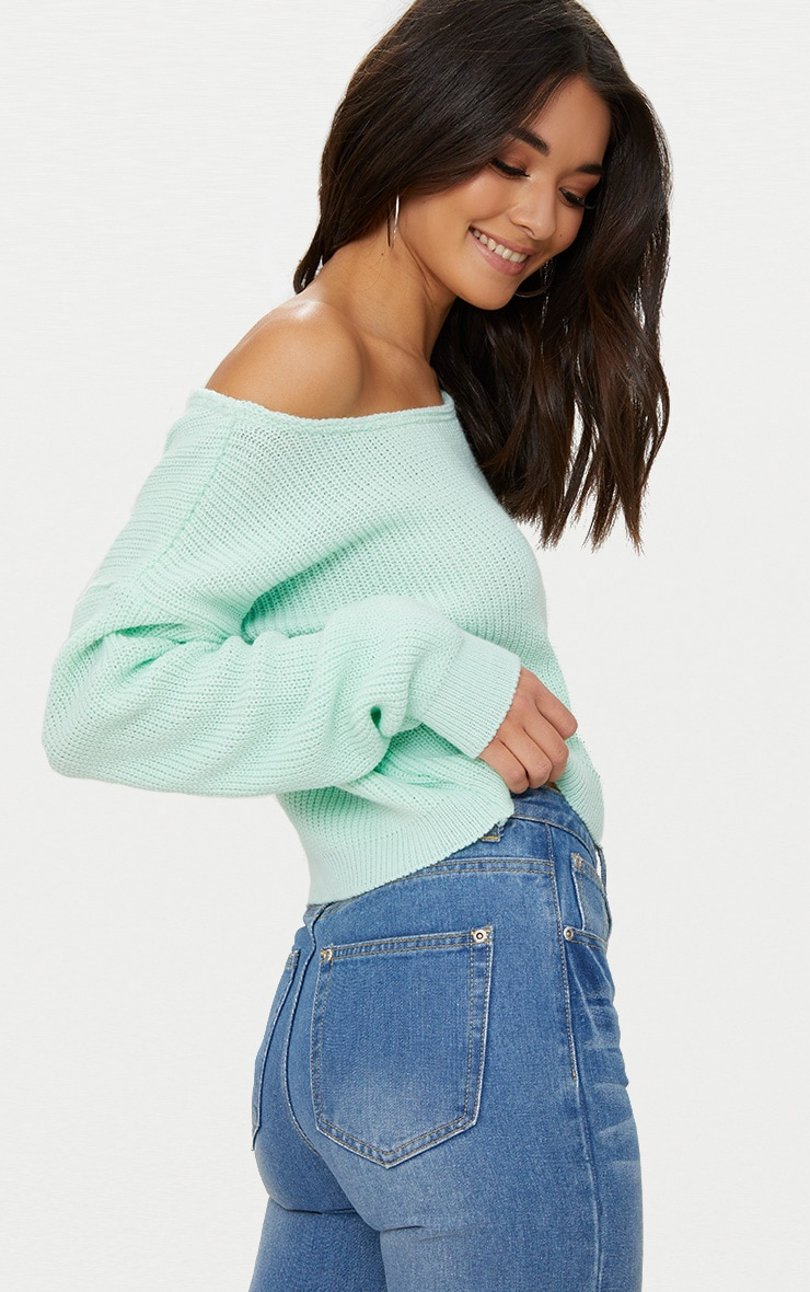 Mint Off The Shoulder Crop Sweater 2