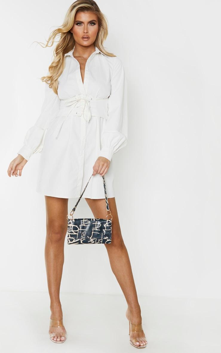 Tall - Robe chemise crème à détail corset 4