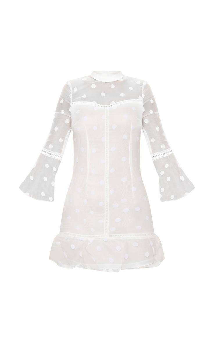 White Spotty Mesh Frill Hem 3/4 Sleeve Bodycon Dress 3