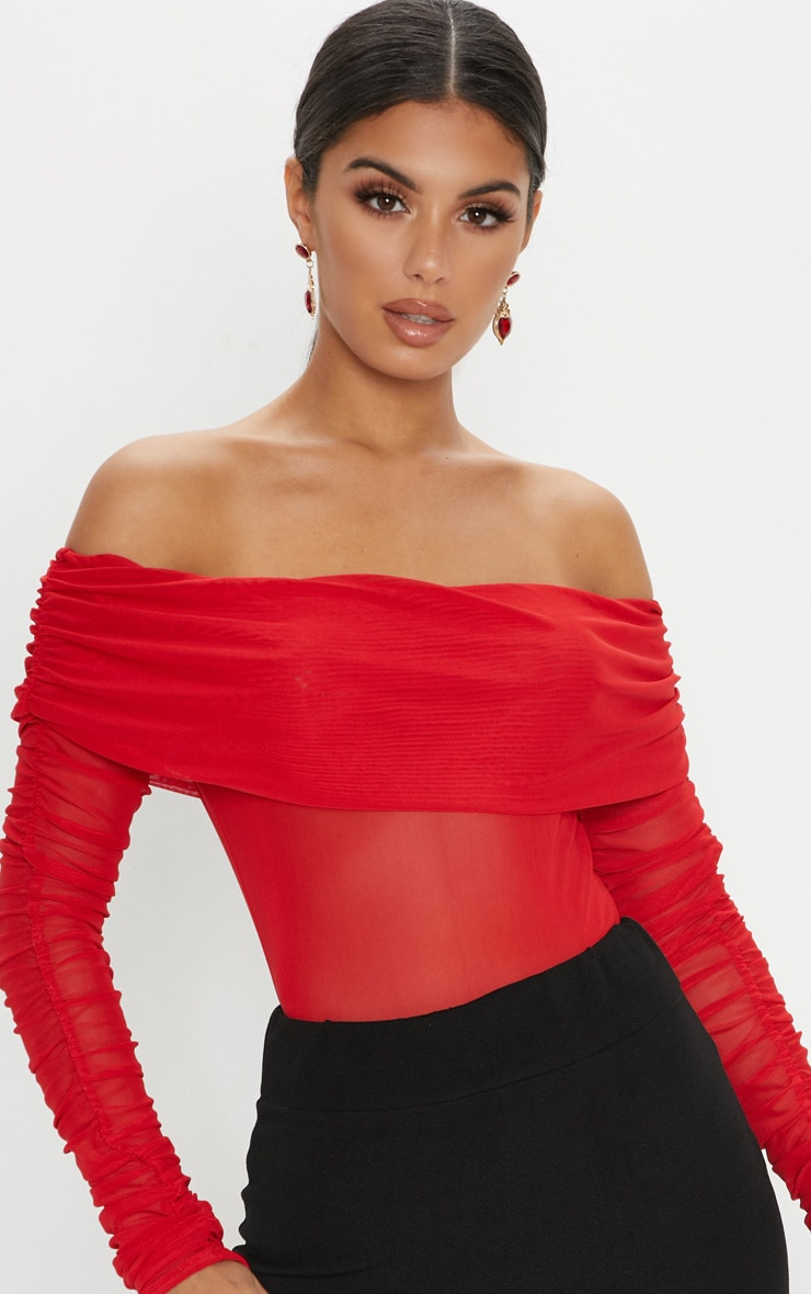 Red Mesh Bardot Ruched Sleeve Bodysuit 6