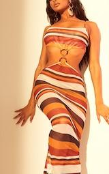 Brown Stripe Mesh Ring Detail Midaxi Dress 5