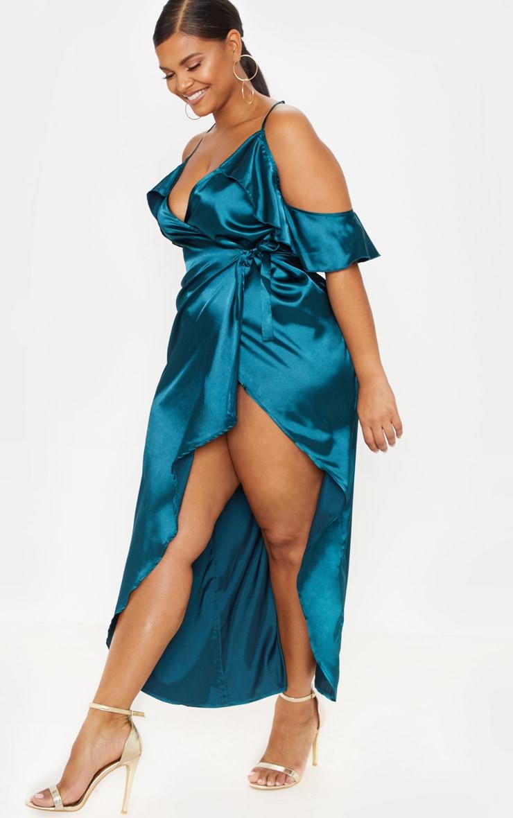 Plus Teal Satin Frill Detail Wrap Maxi Dress 4